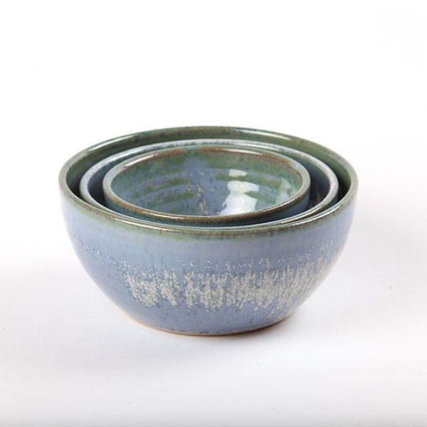 Nest of three blue bowls